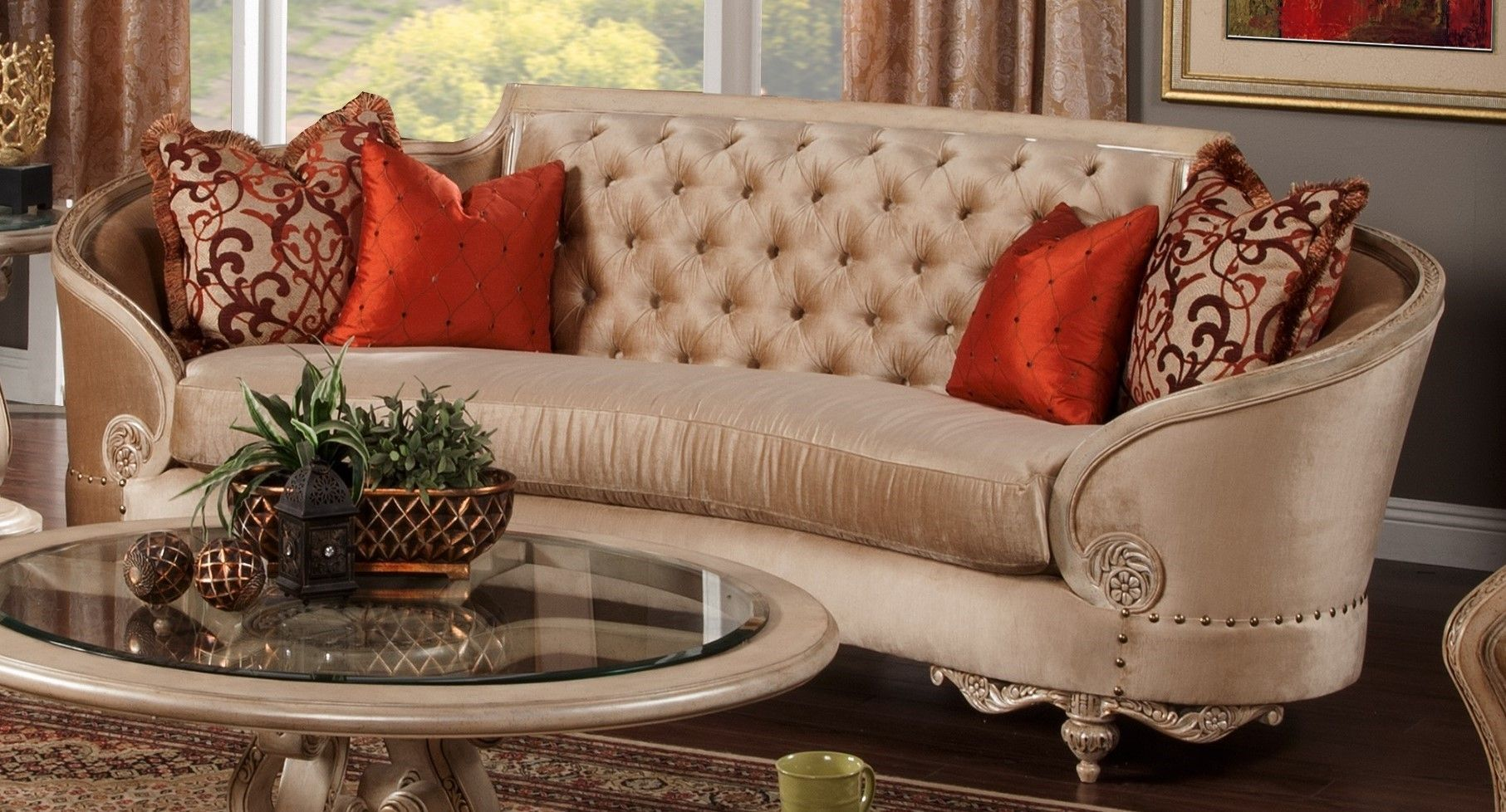 Rosabella Traditional Button Tufted Beige Fabric Cabriole