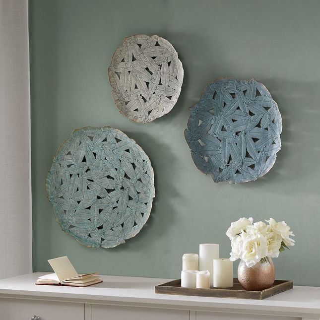 Rossi Blue Iron Painted Wall Decor Set Of 3 Iron Blue Transitional Madison Park