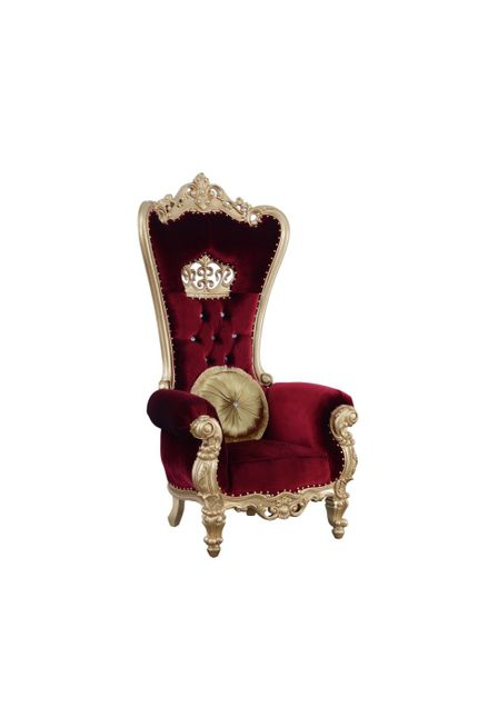 Royal Queen Elizabeth Ruby Red & Gold High Back Chair