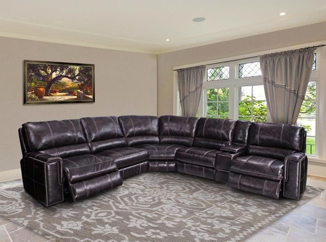 Salinger Twilight Modular Leather Power Recline Sectional Sofa w/ Armless Recliner