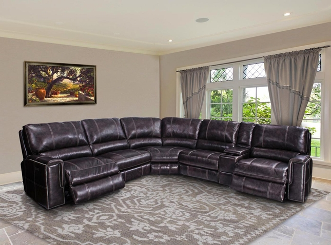 Salinger Twilight Modular Leather Recline Sectional Sofa W Armless Recliner