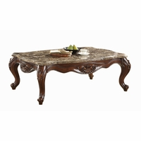 Samara Warm Brown Cherry Coffee Table Wood Carvings Cabriole Legs Marble Top