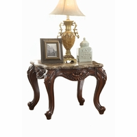 Samara Warm Brown End Table Wood Carvings Cabriole Legs Granite Top