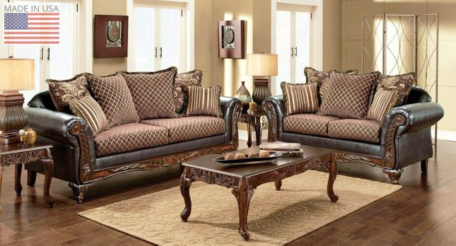 Traditional Living Room Sofa Loveseat Set W Show Wood Trim Pillows