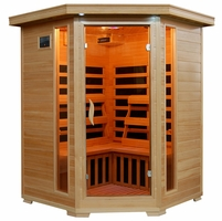 Santa Fe Hemlock 3 Person Carbon Heater Corner Infrared Sauna