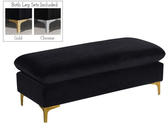 Selene Contemporary Plush Black Velvet Ottoman Bench with Exchangeable Legs