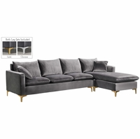Selene Contemporary Plush Grey Velvet Sectional Sofa with Exchangeable Legs