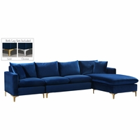 Selene Contemporary Plush Navy Blue Velvet Sectional Sofa with Exchangeable Legs