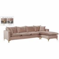 Selene Contemporary Plush Pink Velvet Sectional Sofa with Exchangeable Legs