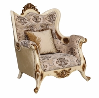 Serena Opulent Traditional Upholstered Chair In Pearl White Gold