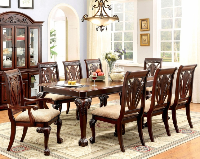 Burrowsville Traditional 5 Pc Ornate 64 82 Dining Table Set In Cherry
