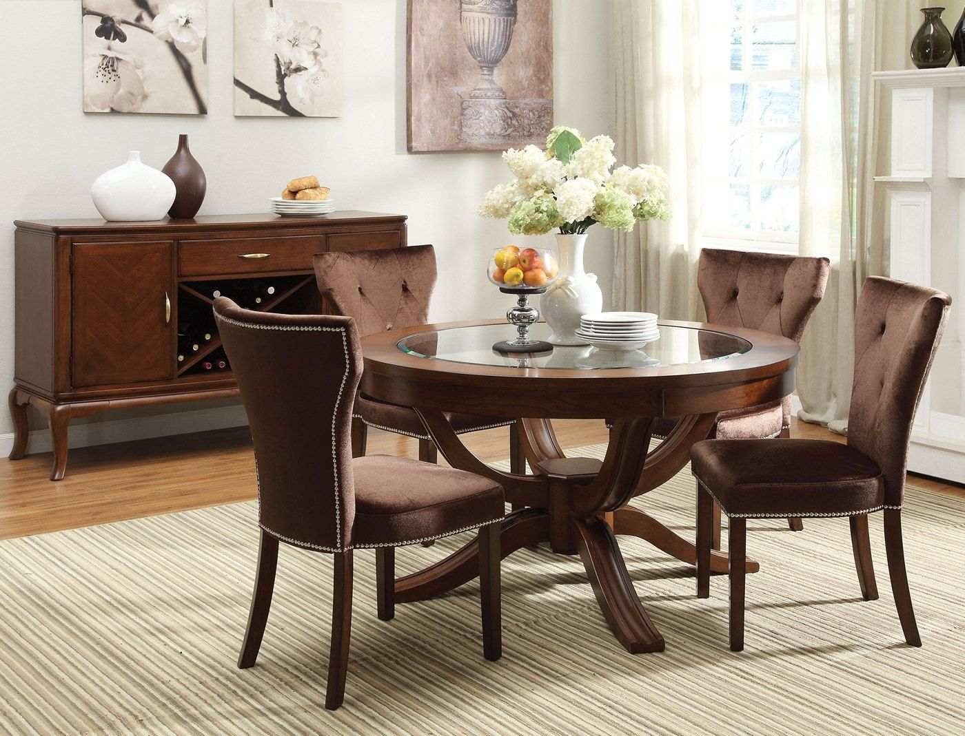 "Kayden Transitional Round 54"" Dining Table W/ Glass Top In"