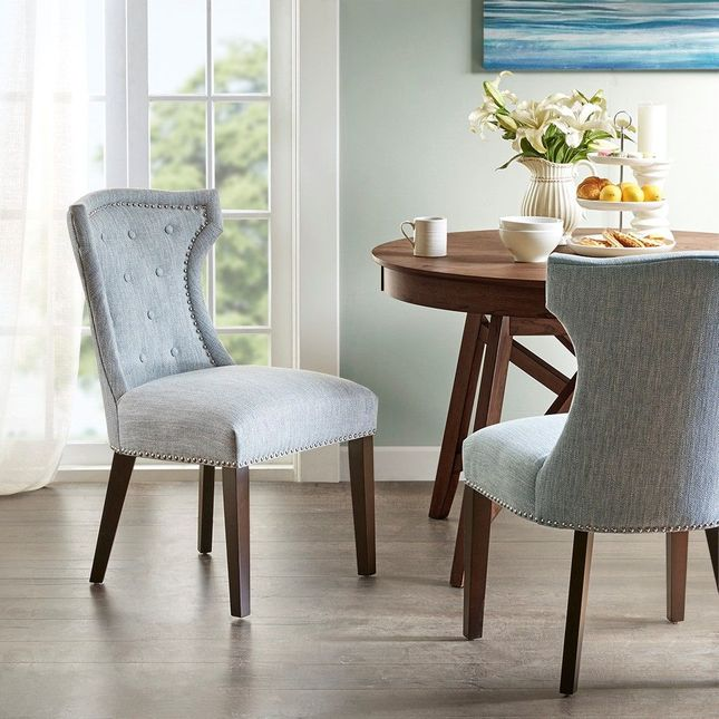Set Of 2 Kellen Dining Chair Solid Wood Moroccan Eclectic Blue Madison Park