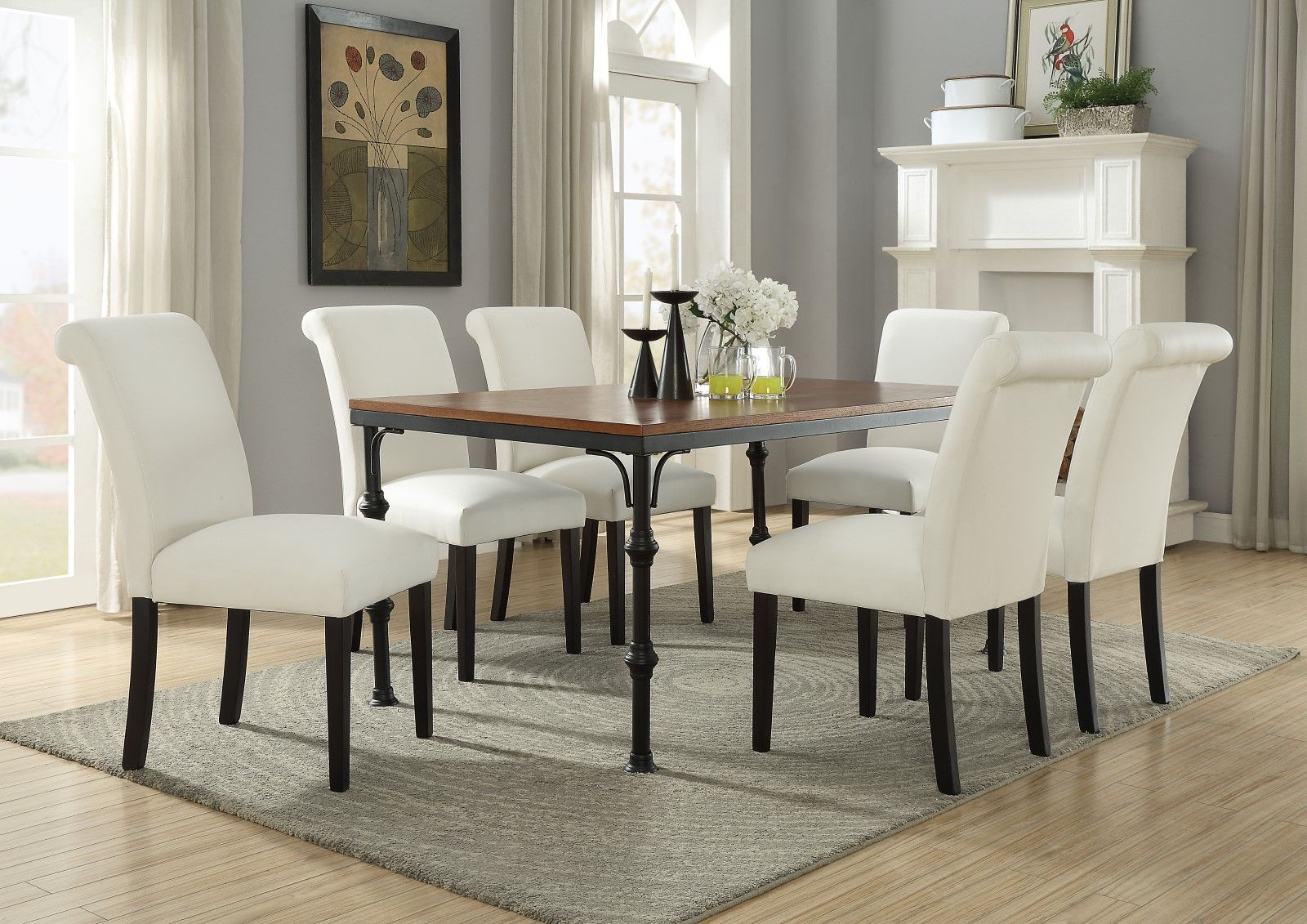 Set of 2, Ledbury Ivory Faux Leather Dining Parsons Chair ...
