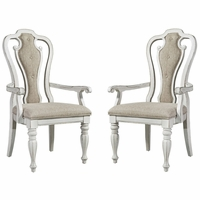 Set of 2, Magnolia Splat Back Arm Chairs in Ivory Chenille & Antique White Finish