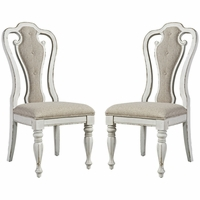 Set of 2, Magnolia Splat Back Side Chairs in Ivory Chenille & Antique White Finish