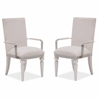 Set of 2, Michael Amini Glimmering Heights Modern Upholstered Arm Chairs, Ivory Finish