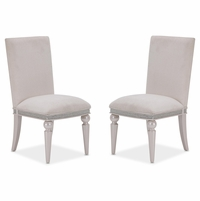 Set of 2, Michael Amini Glimmering Heights Modern Upholstered Side Chairs, Ivory Finish