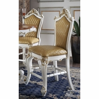 Set of 2, Picardy Traditional Upholstered Counter Height Chairs In Pearl White & Gold