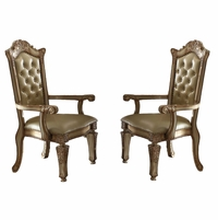 Set of 2, Vendome Button Tufted Faux Leather Arm Chair In Gold Patina