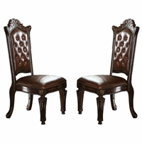 Set of 2, Vendome Button Tufted Faux Leather Side Chair in Cherry Wood Finish