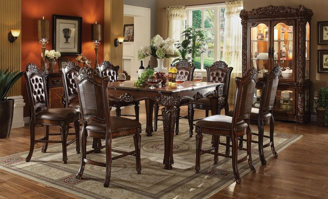 """Vendome 5pc Formal 54"""" Square Counter Height Dining Table Set In Cherry"""