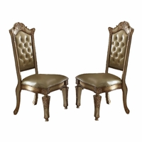 Set of 2, Vendome Button Tufted Faux Leather Side Chair In Gold Patina