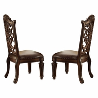 Set of 2, Vendome Ornate Scrolled Wood Back Side Chair in Cherry Wood Finish