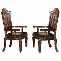 Set of 2, Vendome Button Tufted Faux Leather Arm Chair in Cherry Wood Finish