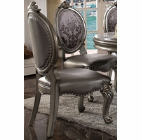 Set of 2, Versailles Floral Fabric Back Side Chair in Antique Platinum Finish