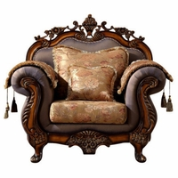Seville Golden Beige Chair With Cherry Finished Floral Wood Carvings