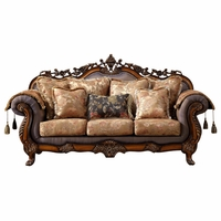 Seville Golden Beige Sofa With Cherry Finished Floral Wood Carvings