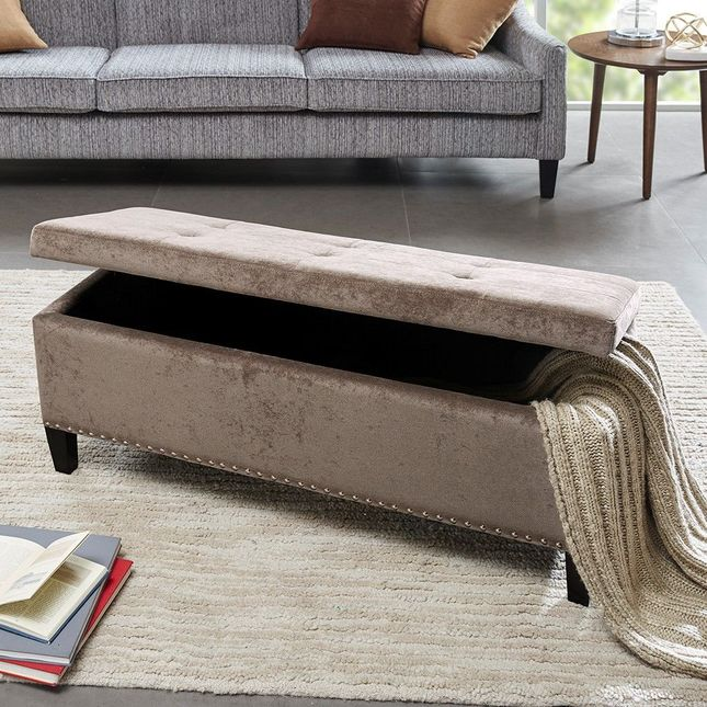 Shandra II Tufted Top Storage Bench Hard Wood Brown Contemporary Park Madison