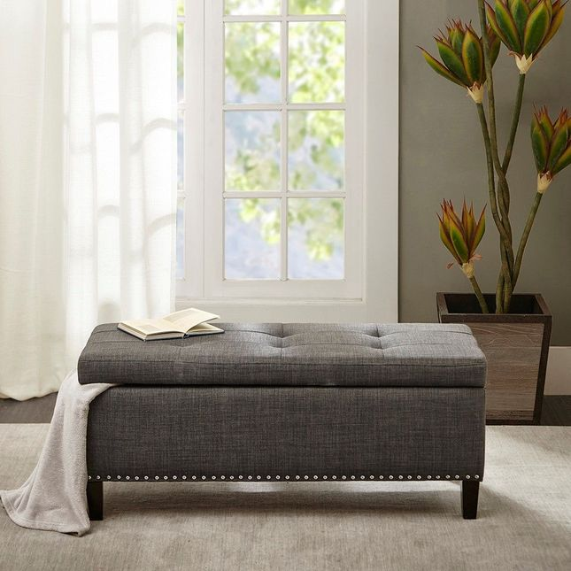 Shandra II Tufted Top Storage Bench Hard Wood Charcoal Contemporary Madison Park