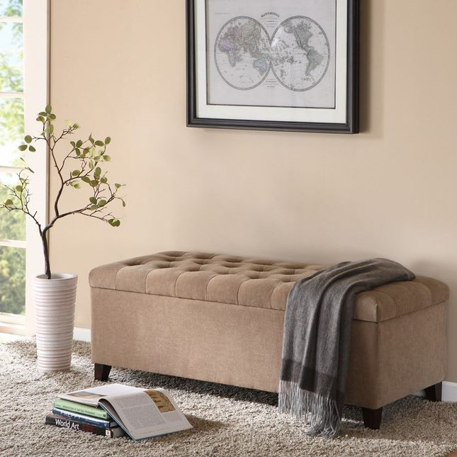 Shandra Tuft Top Storage Bench Hard Wood Neutral Brown Contemporary Madison Park