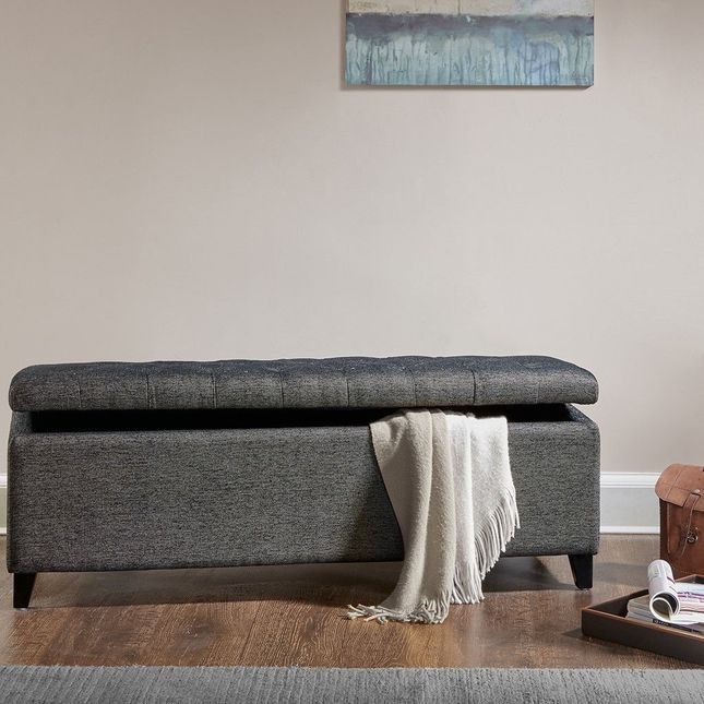 Shandra Tufted Top Storage Bench Hard Wood Black Grey Contemporary Madison Park