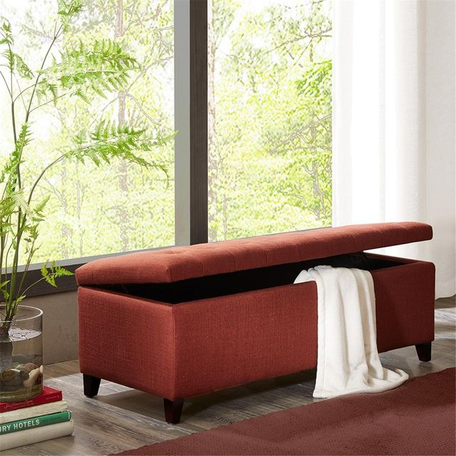 Shandra Tufted Top Storage Bench Hard Wood Red Brown Contemporary Madison Park