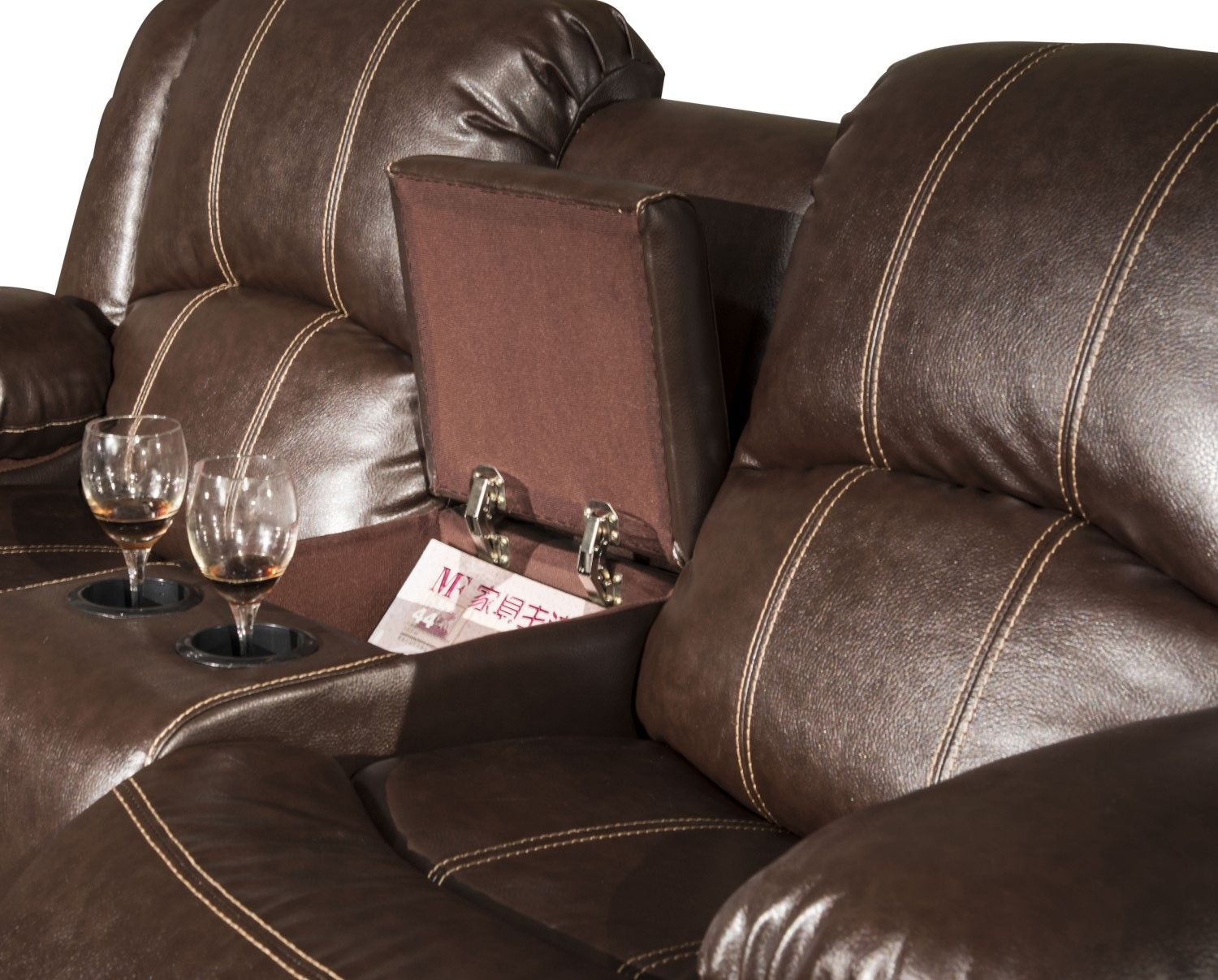 Shefford Brown Faux Leather Dual Reclining Loveseat With