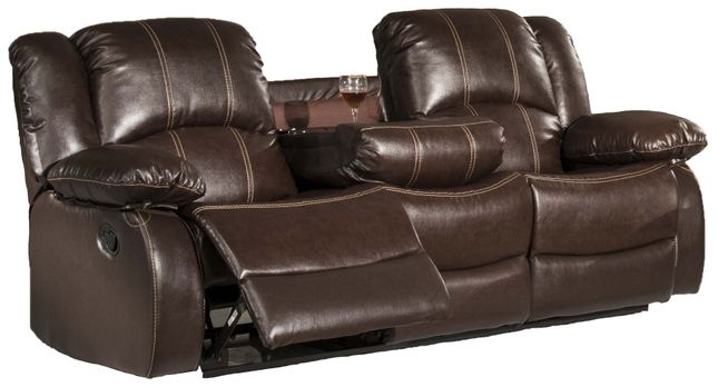 Shefford Traditional Brown Faux Leather Dual Reclining Sofa With