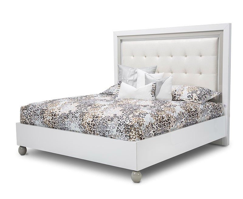 sky tower 4 pc contemporary modern luxury white cloud king bed set with led lighting 34