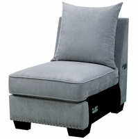 Skyler II Transitional Gray Fabric Upholstered Modular Chair with Nailhead Trim
