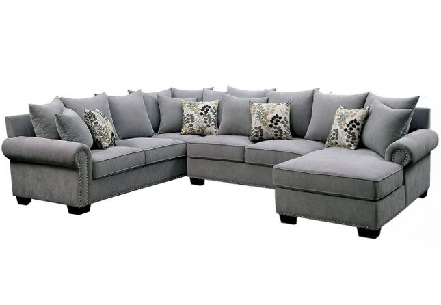 Skyler Ii Transitional Gray Fabric Upholstered Sectional Sofa With Nailhead Trim