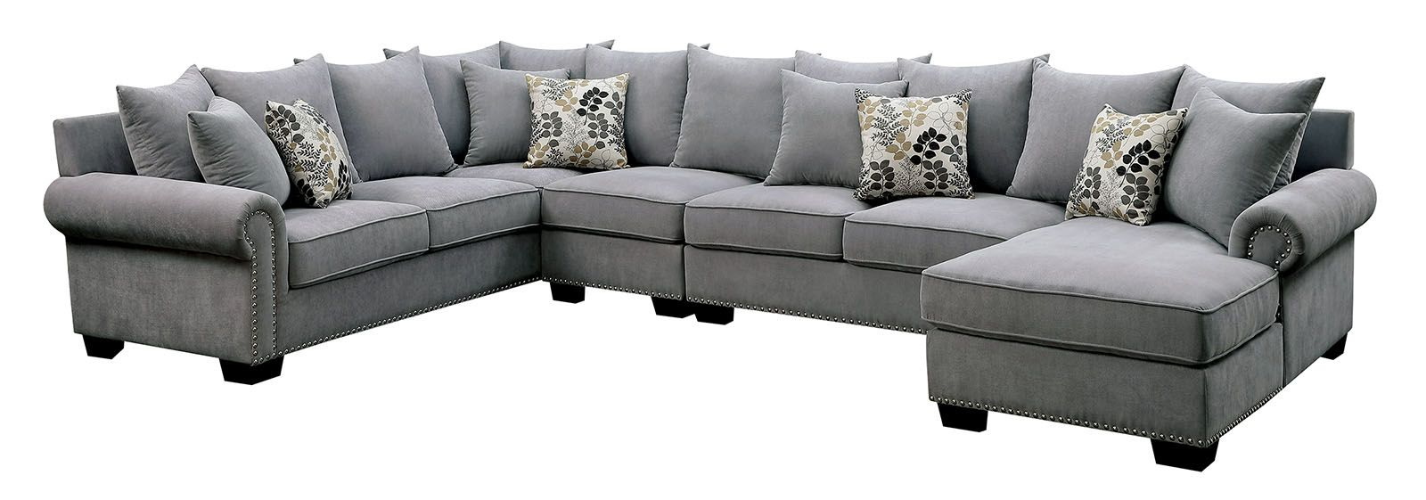 Skyler II Transitional Gray Fabric Upholstered Sectional ...
