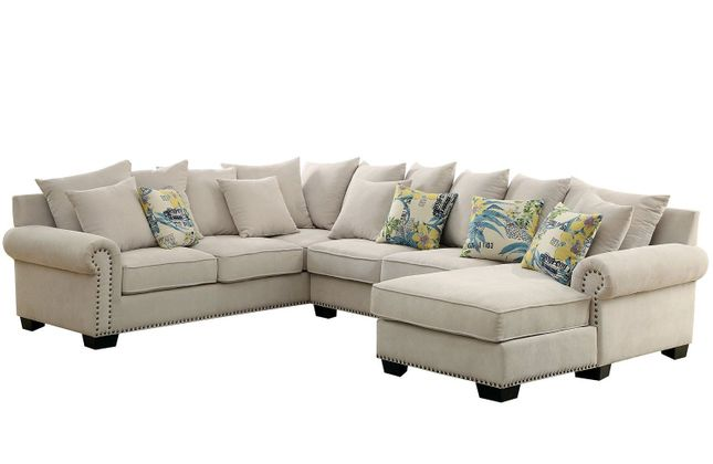 Skyler Transitional Ivory Chenille Fabric Sectional Sofa with Nailhead Trim