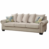 Skyler Transitional Ivory Chenille Fabric Upholstered Sofa with Nailhead Trim
