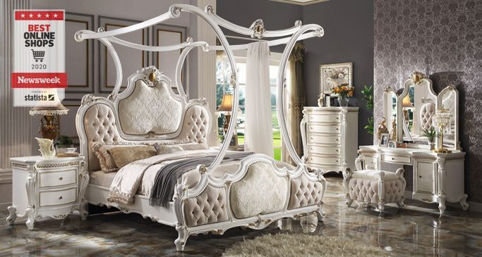 Traditional Victorian French Provincial Antique White Canopy Bedroom Furniture