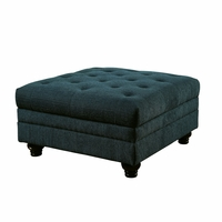 Stanford II Traditional Button Tufted Ottoman in Teal Fabric Upholstery