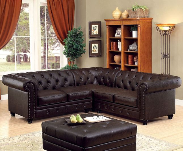 Stanford II Traditional Button Tufted Sectional Sofa in Brown Leatherette Fabric