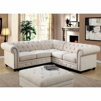 Stanford II Traditional Button Tufted Sectional Sofa in Ivory Fabric Upholstery