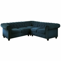 Stanford II Traditional Button Tufted Sectional Sofa in Teal Fabric Upholstery